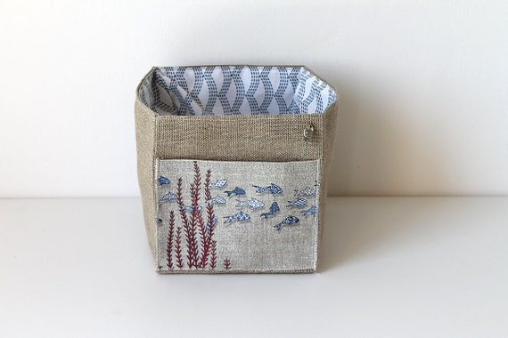 Small square linen basket illustrated fish tiles