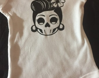 Infant bodysuit Sugar skull day of the dead baby shower gift Steampunk Lady Baby Clothes