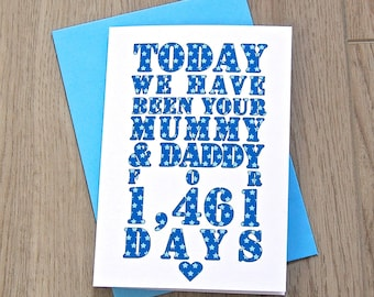 Days We've Been Mummy and Daddy Card – Personalised Birthday Card – Card for Children – birthday card from parents – from mummy and daddy