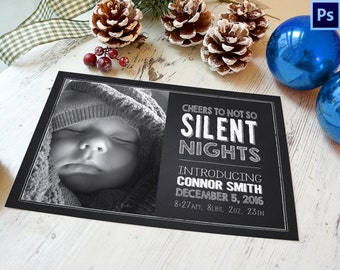 Birth Announcement, Chalkboard Birth Announcement, PHOTOSHOP TEMPLATE, Photographer template, Commercial Use
