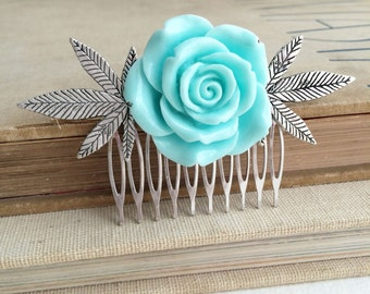 Marijuana hair clip,weed wedding, hair comb, gift for her, wedding,bride,weed accessories, stoner gift,weed 420 Mint cannabis hair accessory