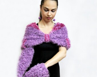 Hand Knitted Shrug, Hand Knit Cape Handwarmers, Capelet Coctail Formal Set purple by Solandia, knitted gift, Christmas gift