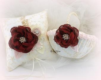 Ring Bearer Pillow,Flower Girl Basket,Ivory,Burgundy,Wine,Blush,Pink,Lace Basket,Lace Pillow,Elegant Wedding,Vintage Style,Pearl Handle