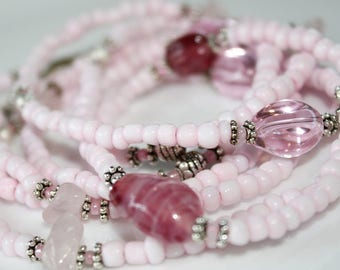 Long Pink Necklace, Pink Bead Necklace, Bohemian Jewelry, Pink Beads, Long Beaded Necklace, Boho Necklace, Pink Beaded Wrap Necklace