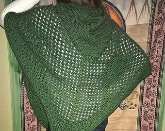 Unisex Handmade Forest Green Hooded Poncho with a front pocket, acrylic - dark sage