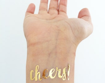 CHEERS! Metallic Gold Temporary Tattoos - brush font