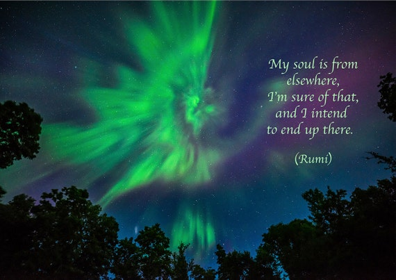 Rumi Quote Inspirational Poetry Greeting Card Aurora Angel