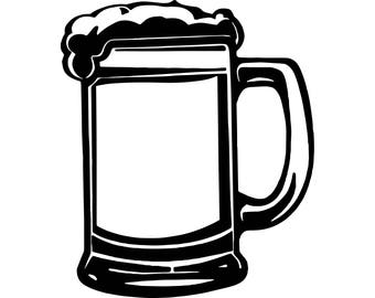 Beer Mug Cerveza Delicious Recreational Drink Alcohol Cold    .SVG .EPS .PNG Vector Space Clipart Digital Download Circuit Cut Cutting