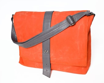 Crossbody Waxed Canvas Bag, Messenger Bag Women Minimalist Style, Laptop Courier Bag Mac Book Pro Surface Pro - The Sloane in Safety Orange