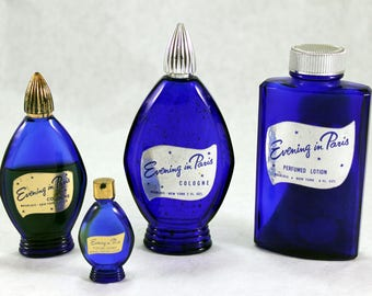 Evening in Paris Perfume/Lotion Bottles, Set of 4, Cobalt Blue, Vintage from 1950s