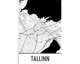 Tallinn Map, Tallinn Art, Tallinn Print, Tallinn Estonia Poster, Tallinn Wall Art, Map of Tallinn, Tallinn Poster, Tallinn Gift, Map Decor