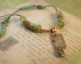 Copper Dog Tag with Green Glass and Gems Leather Necklace