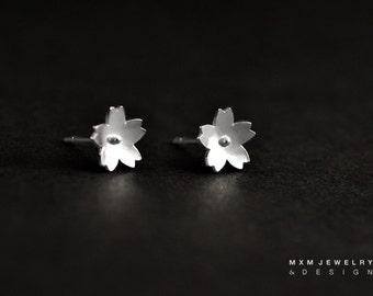 Sakura / Cherry Blossom Flower Stud Earrings