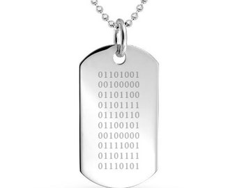 I Love You Binary, 925 Silver Dog Tag (can be personalized/engraved), computer programer, geek