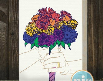 Rainbow bouquet -- a same-sex wedding card