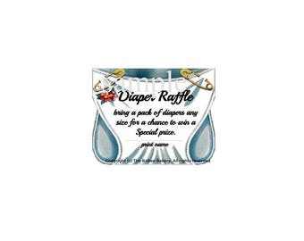 Diaper Raffle Tickets set of 10 ~ FREE SHIPPING on this product