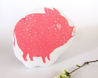 Pig Shaped Farm Animal Pillow.  Woodblock Printed. Choose ANY color. Made to Order.