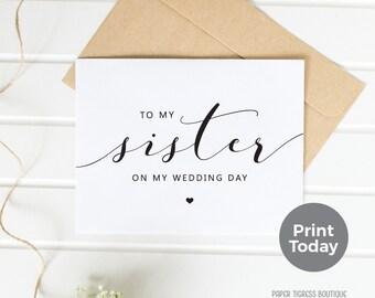 Printable Wedding Card TO Sister, Sister Wedding Card, To My Sister card instant download, Sister Thank you card, wedding stationery
