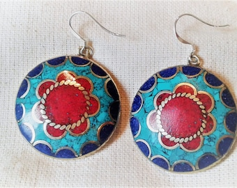 Earrings ethnic Jewelry-Turquoise Lapis coral - jewelry-Nepal - Boho jewelry