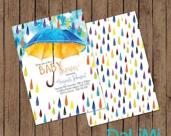 Baby Shower Invitation - Rain Invitation - Bright Watercolour Invitation - Printable Invitation - Personalised - Digital File!