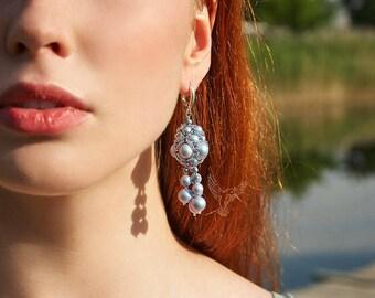 earrings of Swarovski pearls