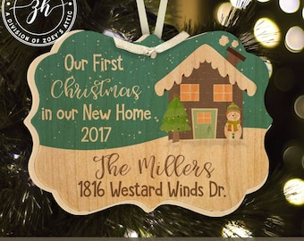 First Christmas new home with snowman personalized maple wood ornament MBO-003w