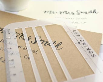 Letter Envelope Address Addressing Stencil Ruler guide Template for Holiday Cards, Thank You Notes, DIY Labels, Wedding Invitations and more