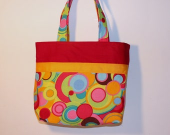 Corlorful Shoulder Bag, Handmade Purse,  Small Tote , Little Girls Purse, Snack Bag, Diaper Bag, Party Favor