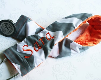 Embroidered Stethoscope Cover - Nurse, Doctor, Med Student, Nursing Student, Medical Assistant - Gray Chevron with Orange - MADE TO ORDER