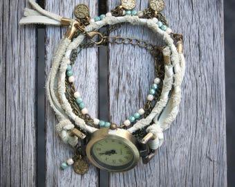 Women watches boho for wrist, wrap bracelet style, white braided leather, oriental style charm, turquoises precious stones. -MO04-