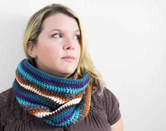 READY TO SHIP: Crochet Striped Cowl Neckwarmer Crochet Cowl Neck Warmer Winter Gift for Her Teal Aqua Pumpkin Orange Brown Purple Cream