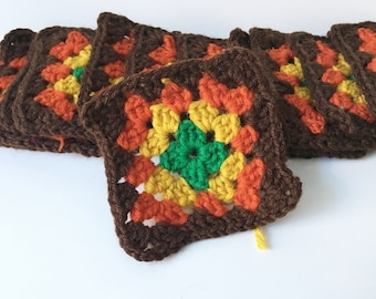 Granny Squares Brown Afghan Squares Crochet Squares Blocks