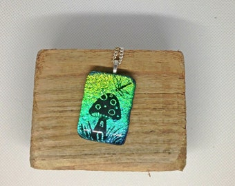 Unique Hand painted Silhouette dichroic Fused Glass Mushroom Pendant  Necklace