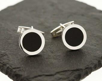 925 Sterling Silver Black Onyx Cuff Links