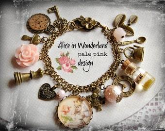 Alice in Wonderland bracelet, jewellery, handmade gift, pale pink, Wonderland fan, Alice fan, Drink me bottle
