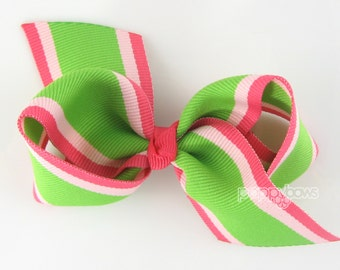"""Loopy Hair Bow - 3.5"""" Bow in Lime Green Bright Pink - Knotted Center Wide Ribbon for Baby Toddler Girls - Classic Preppy Style Smooth Tails"""
