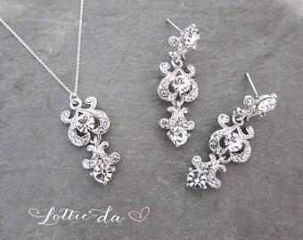 "Vintage Style Wedding Earring Necklace Bracelet Set, Wedding Set, Mini Chandelier Earrings, Antique Style - ""CHERI"""