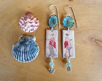 Geisha Sterling Earrings, Earrings, Roman glass earrings, Sterling silver, Sea shells, Japanese earrings, Natural earrings, Ethnic, Tribal