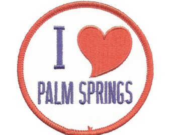 Palm Springs California Patch - Red Heart, I Love Palm Springs (Iron on)