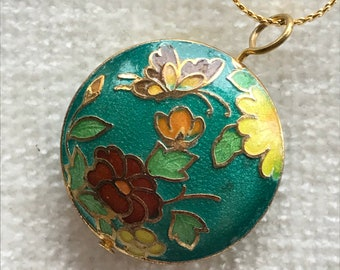 Green Cloisonné Butterfly floral necklace