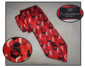 Vintage Red Black White Silk Necktie Tie by Countess Mara New York with Black Monogram Logo, graphic shapes