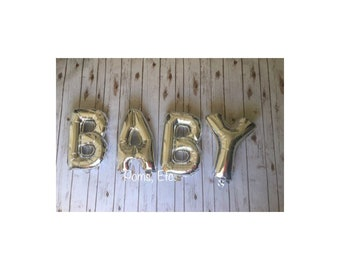 "Rose gold BABY balloon /  create your own banner/ balloon word / word Balloon Banner / 14"" balloon self sealing"