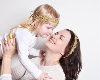 Gold Crown Headband Set, Mother and Daughter Matching Tiaras, Flower Girl Crown, Baby Tiara Princess Crown, Birthday Crowns, Lace Crowns
