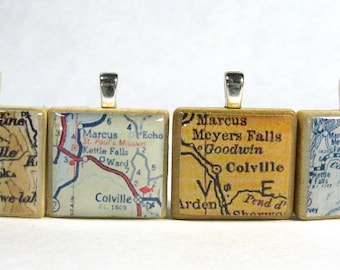 Colville, Washington  - Your choice of vintage Scrabble tile map pendant