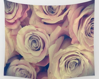 ROSES Wall Tapestry, Flower Wall Art, Pink Large, Office, Happy Fine Art Photography, Nature, Floral Decor, Feminine, Dorm, Retro, Vintage