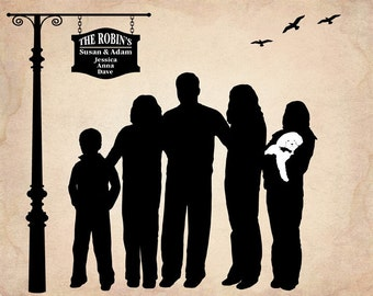 Personalized Silhouette Custom Family Silhouette From YOUR Photo, Personalized Gift, Christmas Gift for Parents - Digital Printable JPEG