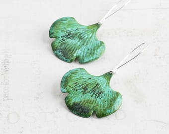 Ginkgo Leaf Earrings, Verdigris Green Patina Leaf Dangles on Silver Plated Hooks, Rustic Earrings, Hand Patina Jewelry