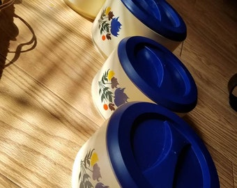 Vintage canisters kitchen storage containers blue and white flowers vintage kitchen