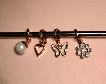 Rose Gold pendant stitch marker set