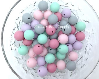 50 or 100 BULK Round Silicone Beads,  Pink, Lavender, Mint & Gray Mix Silicone Beads, Wholesale Silicone Beads, Silicone Teething Beads